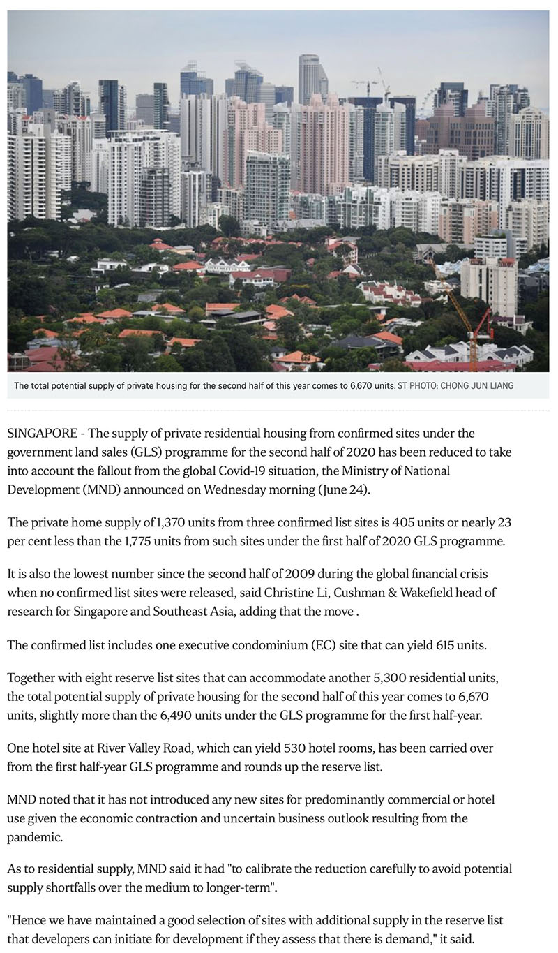 Govt cuts private housing supply from confirmed land sale sites due to Covid-19 fallout -1